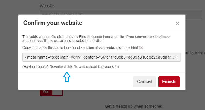 How to verify WordPress website on Pinterest