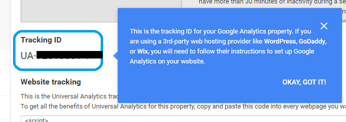 Google Analytics property tracking ID