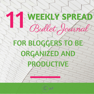 Weekly Spread Bullet Journal for Bloggers