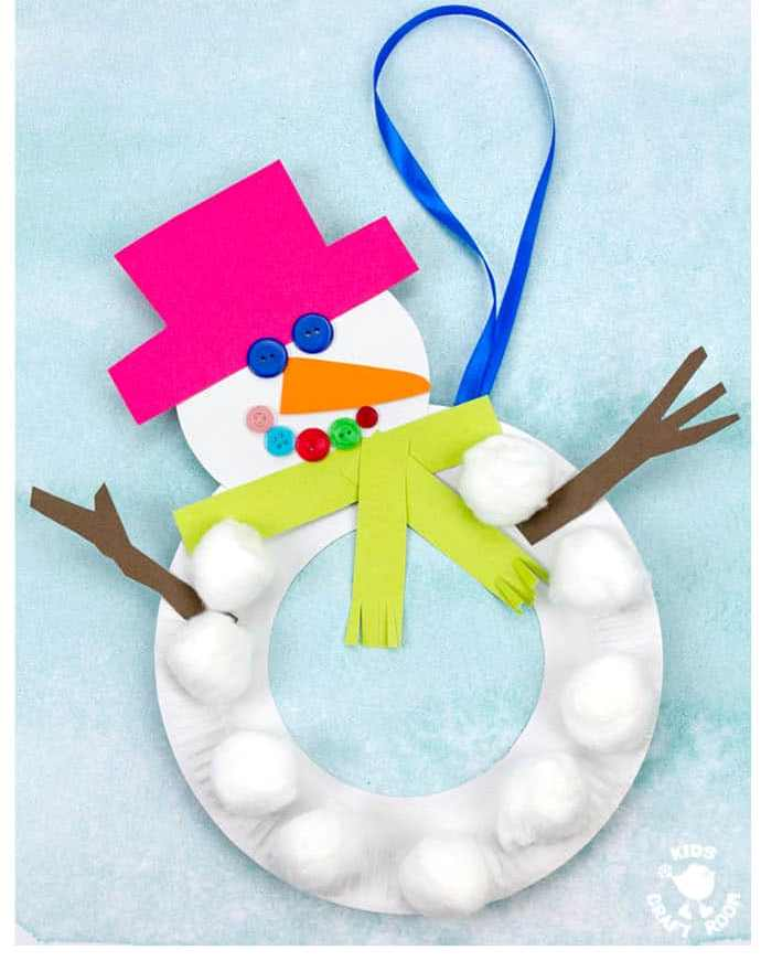 PAPER PLATE SNOWMAN Christmas crafts