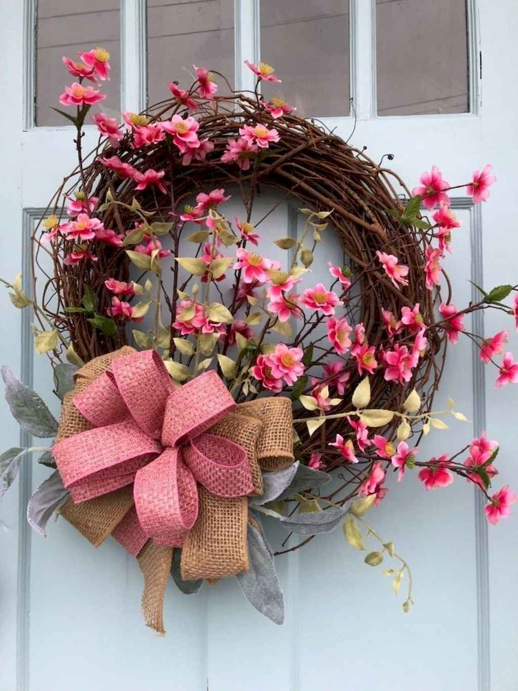 FRESH PINK SPRING FLOWERS WREATH