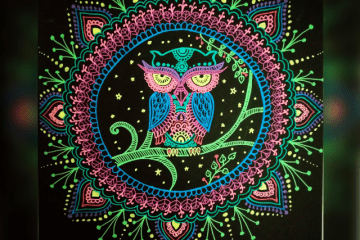 owl drawing on black paper