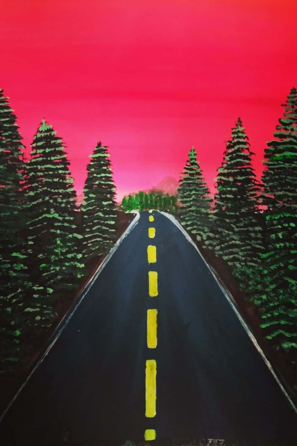 Highway with trees water color painting