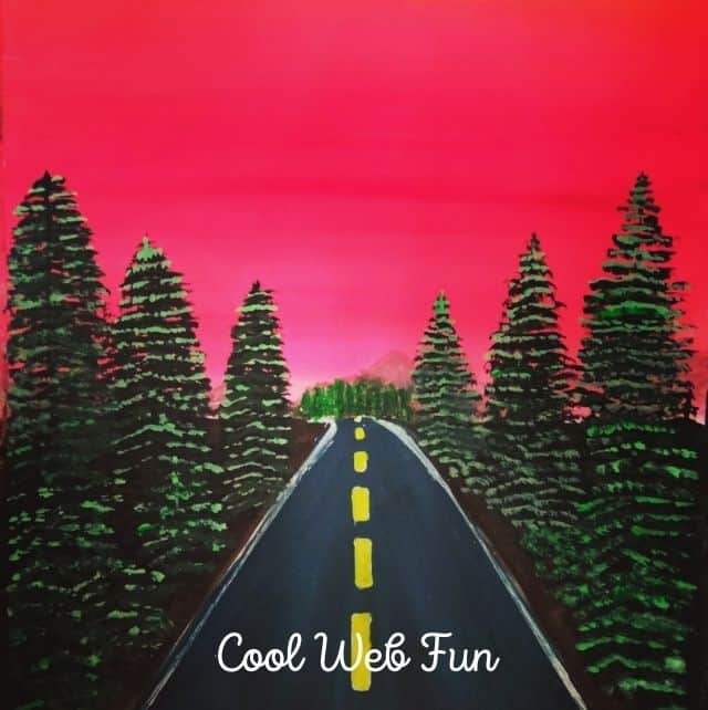 water color painting of a highway with pine trees